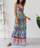 Myodress myodress Women's Maxi Dresses Multicolor - Pink & Blue Tapestry Bow-Accent Sleeveless Maxi Dress - Women