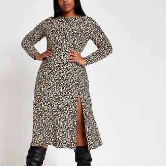 River Island Plus beige leopard print A line midi dress