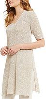 Eileen Fisher V-Neck Elbow Sleeve Side Slit Tunic