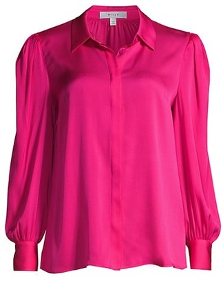 Milly Francia Puff-Sleeve Silk-Blend Blouse