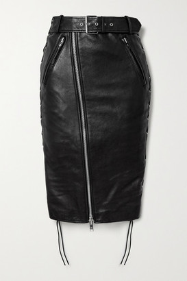 Balenciaga Belted Lace-up Leather And Stretch-jersey Skirt - Black