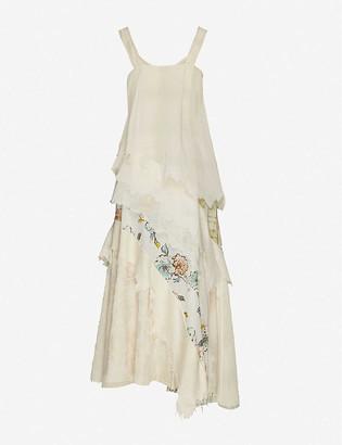 Wen Pan Contrast-panel asymmetric cotton and silk-blend midi dress