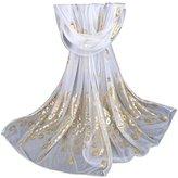 Chiffon Fashion Women Long Print Ninasill Scarf (White)