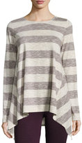 Max Studio Striped Long-Sleeve Trapeze Top, Wine/Natural