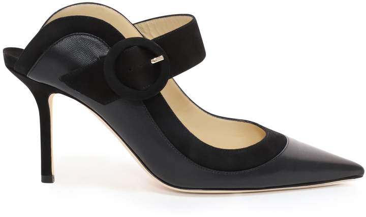 Jimmy Choo HENDRIX 85 Black Nappa and Suede Closed Toe Mule
