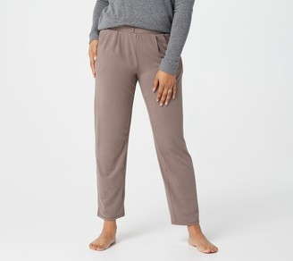 AnyBody Petite Cozy Knit Pleated Button Front Pants