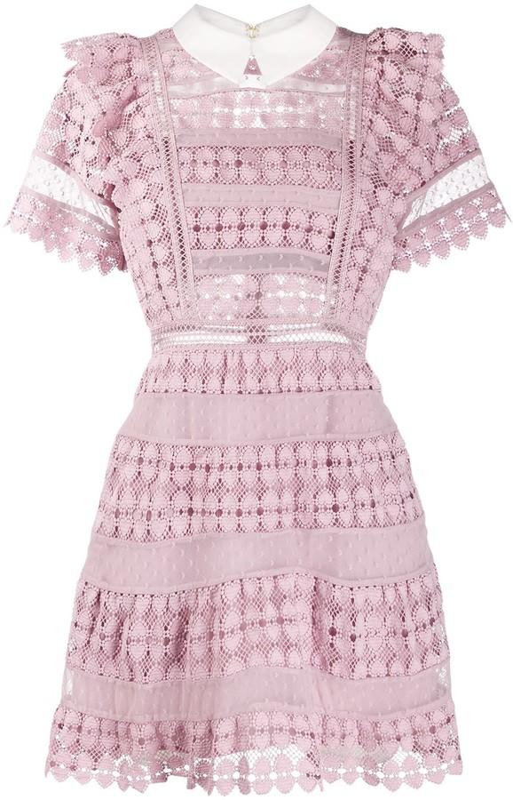 Self-Portrait Lace Ruffle Mini Dress