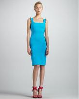 Versace Beaded-Shoulder Sheath Dress, Turquoise
