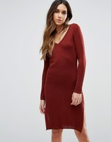 Vero Moda V Neck Long Sleeve Midi Dress