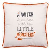 Primitives By Kathy 'A Witch Lives Here With Her Little Monsters' Decorative Pillow