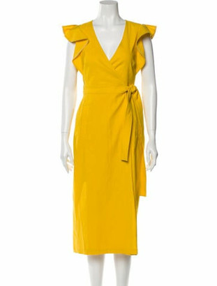 A.L.C. V-Neck Midi Length Dress w/ Tags Yellow V-Neck Midi Length Dress w/ Tags