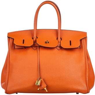 Hermes Orange Clemence Leather Gold Hardware Birkin 40 Bag