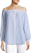 Haute Hippie Vivien Button-Down Striped Poplin Top, Blue