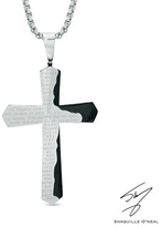 Zales Men's Shaquille O'Neal Lord's Prayer Tablet Cross Pendant in Two-Tone Stainless Steel - 24""