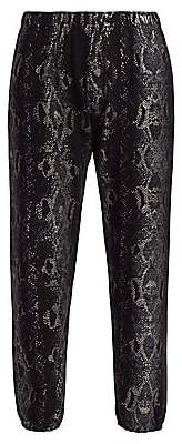 Monrow Women's Foil Snake Print Cropped Joggers