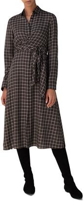 Akris Punto Tartan Long-Sleeve Belted Midi Dress