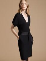 Halston Faux Wrap Multi Stitch Waist Dress