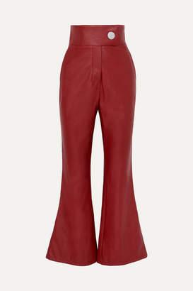 Sara Battaglia Faux Leather Flared Pants - IT38