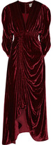 Preen by Thornton Bregazzi Rebecca Ruched Velvet Dress - Burgundy