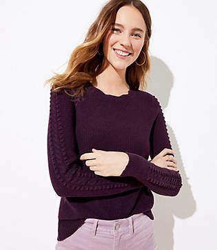 LOFT Scalloped Cable Sleeve Sweater