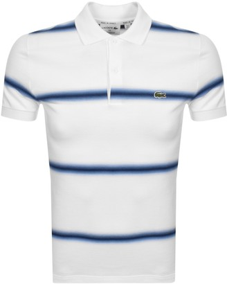 Lacoste Short Sleeved Striped Polo T Shirt White