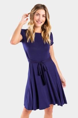 francesca's Josephine Tie Front Dress - Navy