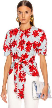 Proenza Schouler Splatter Floral Tie Top in Red & Baby Blue | FWRD