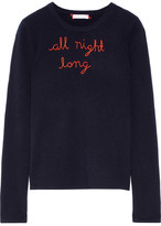 Lingua Franca All Night Long Embroidered Cashmere Sweater - Midnight blue