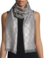 Gucci Shimmery GG Pattern Scarf, Silver