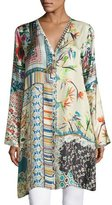 Johnny Was Silverette Long Silk Button-Front Cardigan, Plus Size