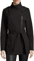 MICHAEL Michael Kors Asymmetric-Zip Trench Coat, Black