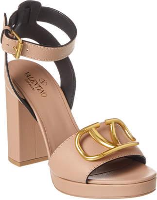 Valentino Vlogo Chunky Ankle Strap Leather Sandal