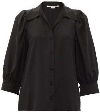 Stella McCartney Reese Cropped-sleeve Silk-crepe Shirt - Black