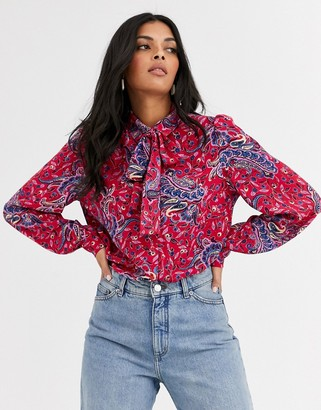 And other stories & paisley print pussy-bow blouse in pink