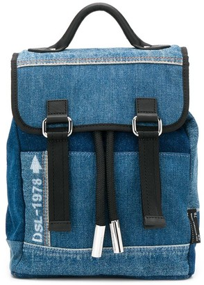 Diesel Leather Trim Denim Backpack