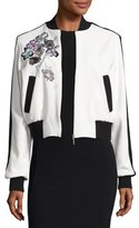Elie Saab Embroidered Bicolor Bomber Jacket, Multicolor