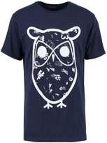 Knowledge Cotton Apparel Big Concept Owl Print Tshirt Peacoat