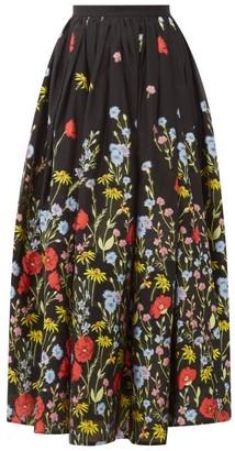 Erdem Lindie Floral-embroidered Organza Skirt - Womens - Black Multi