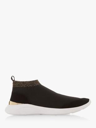 Dune Easy Glitter Trim Sock Trainers, Black