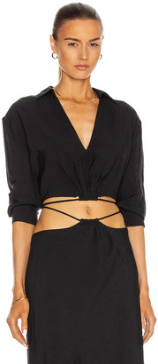 Jonathan Simkhai Mazzy Strap Detail Crop Shirt in Black | FWRD
