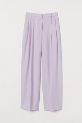 H&M Wide-leg Suit Pants - Purple
