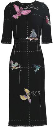 Dolce & Gabbana Appliqued Wool-crepe Midi Dress