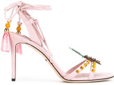 Dolce & Gabbana pineapple patch toe sandals - women - Leather/Metal (Other)/Goat Suede - 37