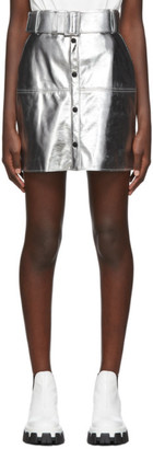 MSGM Silver Eco Leather Miniskirt