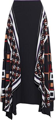 Diane von Furstenberg Reece Asymmetric Printed Crepe Maxi Skirt
