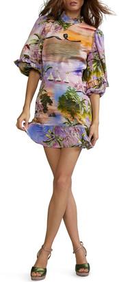 Cynthia Rowley Catalina Mock-Neck Mini Ruffle Dress