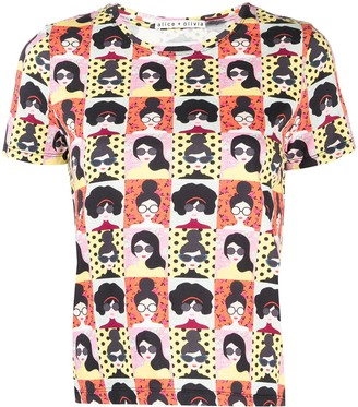 Alice + Olivia Stace Face-print cotton t-shirt