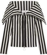 Marques Almeida Marques' Almeida - Off-the-shoulder Striped Satin Top - Black