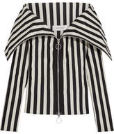 Marques Almeida Marques' Almeida Off-the-shoulder Striped Satin Top
