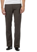 Maine New England Big And Tall Brown Brushed Twill Cotton Blend Trousers